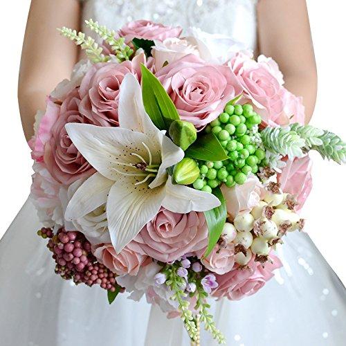Abbie Home Bride Bouquets - Wedding Flower Bouquet Handmade Rose Rhinestone Pearl Bridal Artifical Silk Flower with Different Design (499PI) (Rhinestone Pink Priorities)