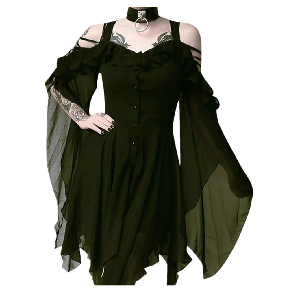 Women's Victorian Gothic Boho Witchy Dress Ruffle Sleeves Off Shoulder Retro Gown Cosplay Festivals Green by sweetnice Women Dresses