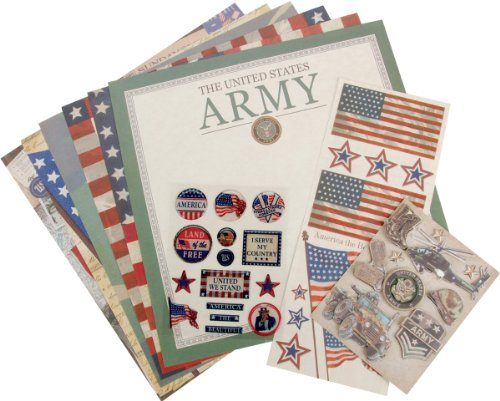 K&Company Military 12-Inch-by-12-Inch Scrapbook Kit Layouts,