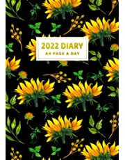 2022 Diary A4 Page A Day: Cute Yellow Sunflowers On Black A4 One Page Per Day To View Dated 2022 Daily Diary Planner Organiser Lined Journal Notebook ... For Sunflower Lovers Girls Women Mom