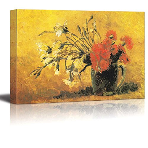 Vase with Red and White Carnation on a Yellow Background 1886 by Vincent Van Gogh Print Famous Oil Painting Reproduction