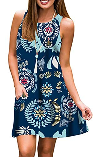 - Andaa Women Crew Neck Summer Sleeveless Dress Floral Printed Tank Summer Dresses with Pockets (Blue, Large)