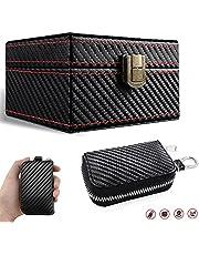Faraday Box for Car Keys Leather Signal Blocker Box Car Key Case Faraday Cage Car Key Protector RFID Signal Blocking Anti-Theft Pouch Anti-Hacking Case Blocker