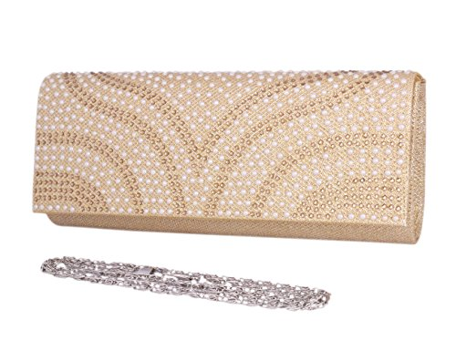 Long Snap Evening Of Womens Champagne Pearl Saturn Bag Day Bling Magnetic Clutch AtZgwqnzwx