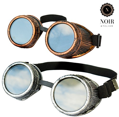 Noir Atelier New Real Metal Feel&Look Handcrafted 2pcs Steampunk Victorian Retro Vintage Welding Goggles Cyber Punk Gothic Glasses - Perfect For - Era Steampunk