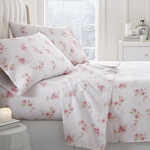 Simply Soft 4 Piece Flannel Sheet Set Rose Patterned, King, Pink