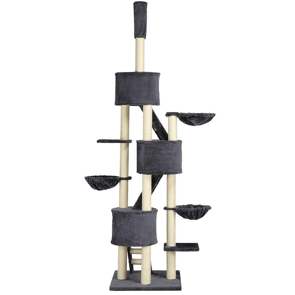 Yaheetech Huge Cat Tree Furniture Adjustable Height 92-106inch Gray
