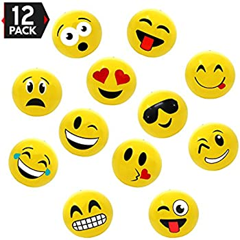 """12"""" Emoji Party Pack Inflatable Beach Balls - Beach Pool Party Toys (12 Pack)"""