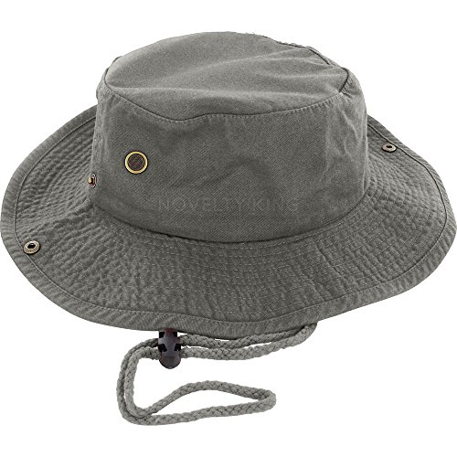 100% Cotton Boonie Fishing Bucket Hat with String ,OliveLarge/X-Large