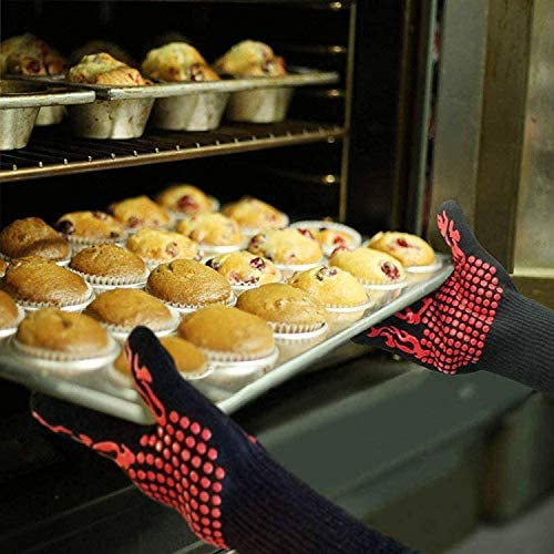 MIAO. Gants pour Barbecue, Four Gants Chauffez Gant de Cuisine résistant avec Les Doigts, 1 Paire, Rouge