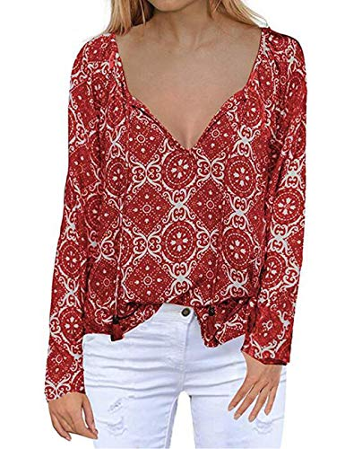 Plus Size Shirt,Womens Long Sleeve Deep V Neck Tie Front Floral Tops Chiffon Blouses Red XXL