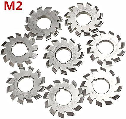 KUNSE M/ódulo 2 Di/ámetro 22Mm 20Degree #1-8 Hss Engranaje Espiral Fresa-#1