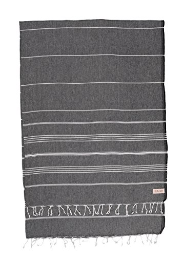 (Bersuse 100% Cotton - Anatolia XL Throw Blanket Turkish Towel - Sofa Bed or Couch Cover, Picnic Blanket - Large Peshtemal Beach Towel - Oeko-TEX - 61 x 82 Inches, Black (Set of 3))