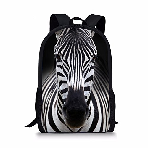 Showudesigns Striped Animal Zebra Backpack for Junior Student Lightweight Bag