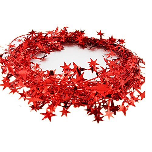 3PCS/1set Star Garland Tinsel Stars Brace,Tinsel Wire Garland Christmas Decoration Party Accessory (Red)