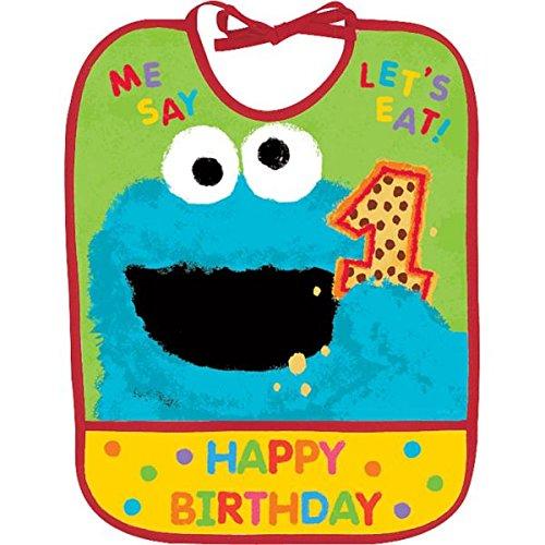 Amscan Sesame Street 1st Birthday Cookie Monster Baby Bib Party Accessory Childrens-Costume, Vinyl, 13