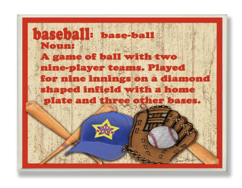 The Kids Room by Stupell Baseball Dictionary Definition Rectangel Wall Plaque