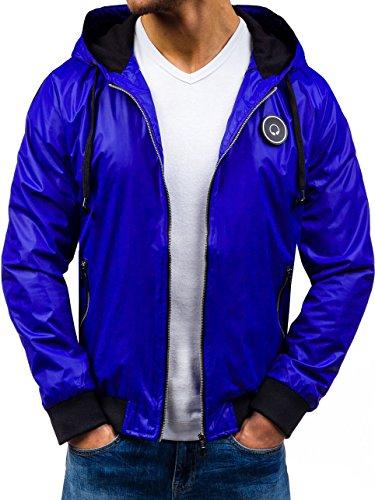 Uomo Giacca Sport Cappuccio Motivo Bolf Blu 4d4 – Cerniera Casual Cobalto n5Iq0q