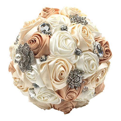 Abbie Home Silk Bridal Bouquet Crystal Rhinestones Ivory Rose Wedding Flowers (Champagne)