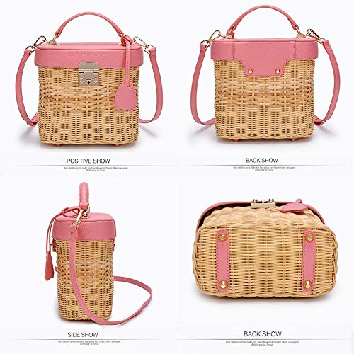 Everyday and Straw Leather for Bohemia Beach Bag Weave Pink Bag Women Strap shoulder Style Travel Crossbody Single ZwB66