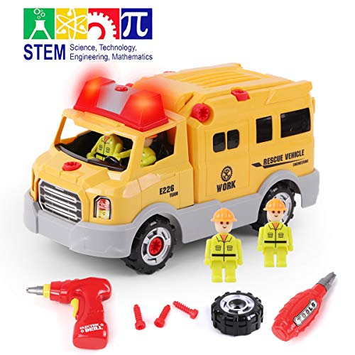 GILOBABY Take Apart Rescue Vehicle with 4 Figures, STEM Toys DIY Car with Drill Tool, Lights and Sounds, 31 Piece, Build Your Own Car for Kids, Gifts for Boys Age 3+ -