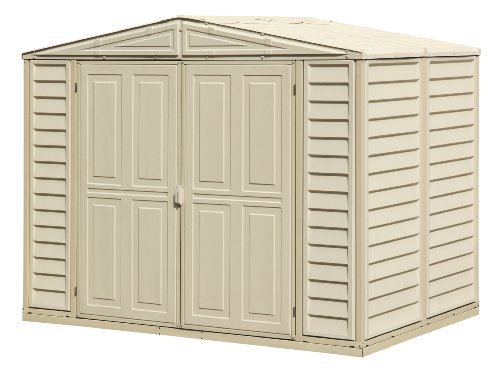 8' x 6' Duramax Outdoor Storage Shed, Garden Tool Organizer | Easy to Assemble, Strong Structure with Reinforced Vinyl Guarantees Durability | Fire Retardant, Wind and Snow Tested, Maintenance-Free Duramax Vinyl Outdoor Shed