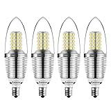 Bogao (4 Pack) LED Candelabra Bulb, 12W Daylight White 6000K LED Candle Bulbs