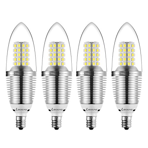 Bogao (4 Pack LED Candelabra Bulb, 12W Daylight White 6000K LED Candle Bulbs, 85-100 Watt Light Bulbs Equivalent, E12 Candelabra Base,1200Lumens LED Lights,Torpedo Shape ()