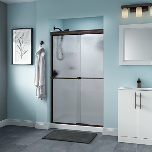 Delta Shower Doors SD3276507 Trinsic Semi-Frameless Traditional Sliding Shower Door 48in.x70in, Bronze Track