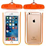 Waterproof Case,CaseHQ Universal IPX8 Waterproof Phone Pouch Underwater Phone Case Bag Neck Strap for iPhone X/8/8P/7/7P,Samsung Galaxy S9/S8/S8P/Note 8,Google Pixel/LG/HTC up to 6.0''-Orange