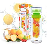 [CHRISTMAS SALE] EMPO Fruit&Tea Infuser Water Bottle (BPA Free) with FREE Recipe eBook - 25 Oz - Leak Proof - Twist Cap Ideal Gift for Sports, Camping, Paleo Diet - Green