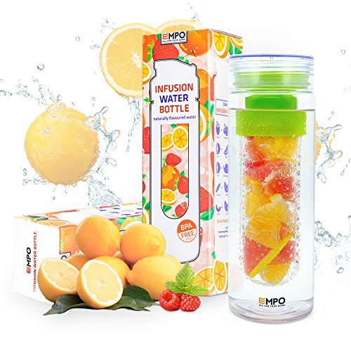 EMPO Infuser Water Bottle Sport BPA-Free Tritan 27 Oz Fruit Tea Infusion Bottle with Free Recipe Ebook - Large Capacity 100% Leak Proof - Multiple Color Options Ideal Summer Gift - Green