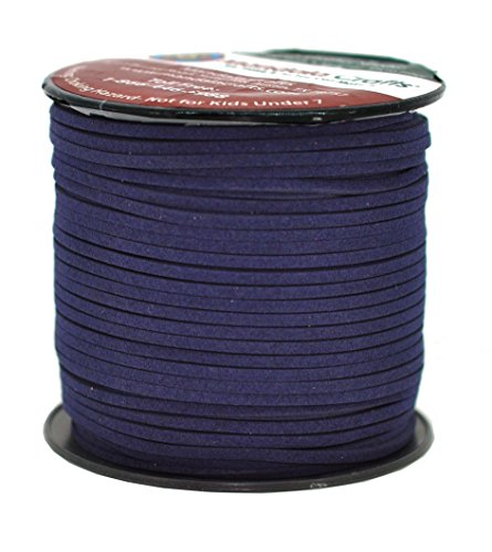 - Mandala Crafts 100 Yards 2.65mm Wide Jewelry Making Flat Micro Fiber Lace Faux Suede Leather Cord (Dark Navy Blue)