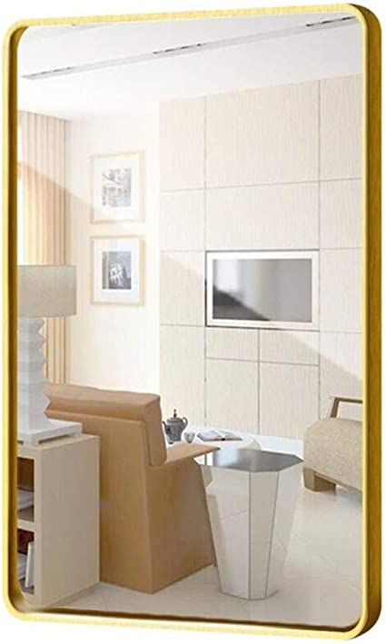 Zequan Large Rectangle Mirror Rounded Corner Design Modern Metal Frame Wall Mirror Contemporary Floating Glass Panel Wall Mounted Vanity Mirrors Bedroom Or Bathroom Gold 60x80cm Amazon Co Uk Kitchen Home