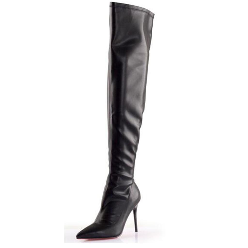 Damen High Heel Stiefel Damen Damen Stiefel Fein mit Spitz Lackleder Elastizität Knieschuhe Hohe Stiefel Messingstiefel, schwarz, 41 - 63f830