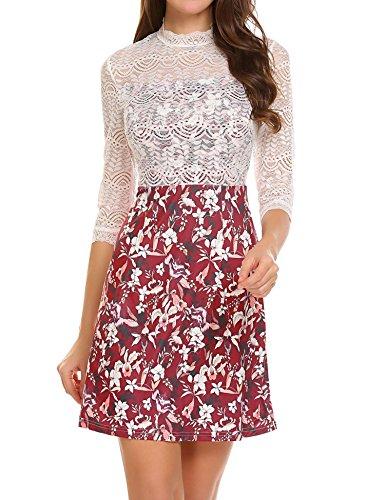 Bulges-Women-Vintage-Floral-Hollow-Lace-ZIpper-Back-A-line-Casual-Dresses-Size-M