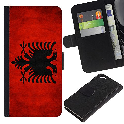 EuroCase - Apple Iphone 6 4.7 - Albania Grunge Flag - Cuir PU Coverture Shell Armure Coque Coq Cas Etui Housse Case Cover
