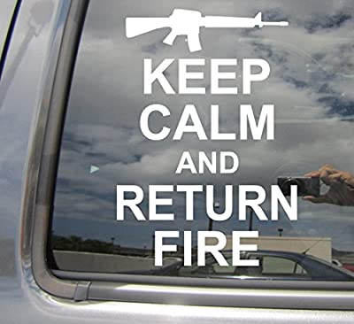Keep Calm And Return Fire - Army Marines Seal Veteran Military - Cars Trucks Moped Auto Laptop Vinyl Decal Window Wall Sticker 03019