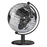 Wild Wood Geographic World 6'' Desk Globe with Stand, Monochrome (AWWL063)