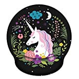 Ergonomic Mouse Pad with Gel Wrist Rest Support, iLeadon Non-Slip Rubber Base Wrist Rest Pad for Home, Office Easy Typing & Pain Relief, Holy Unicorn
