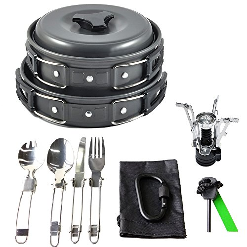 17Pcs Camping Cookware Mess Kit Backpacking Gear & Hiking Outdoors Bug Out Bag Cooking Equipment Cookset | Lightweight, Compact, & Durable Pot Pan Bowls (Black)