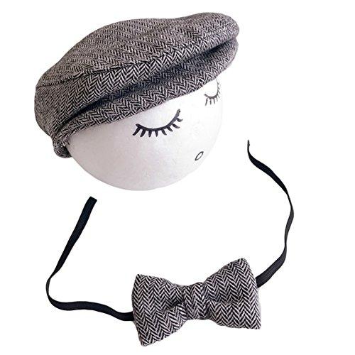 06487131b5d9 Vemonllas Casquette Cravate pour Bébé Garcon Fille Baseball Bonnet Beret  Chapeau Ensemble Photo Bébé Accessories Prop Photographie Nouveau Né  (Beige)  ...