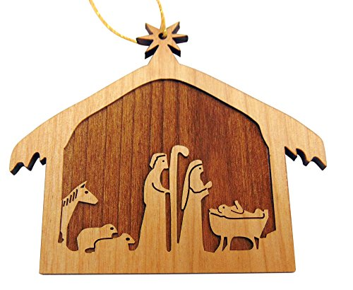 Christmas Nativity Wooden Tree Ornament Made in the USA, 2 1/2 Inches
