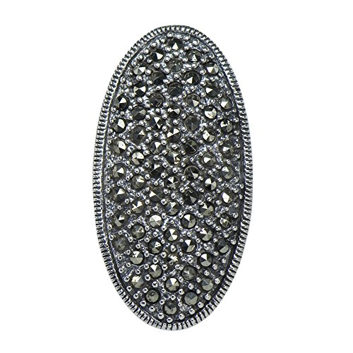 Vintage Art Nouveau Marcasite Shield of Appreciation Deco Ring Sterling (Sterling Silver Marcasite Art)