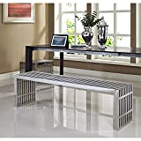 Modway Small Gridiron Stainless Steel Bench with Large Gridiron Stainless Steel Bench