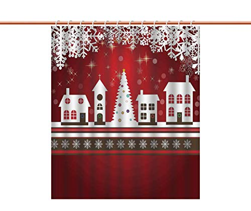 iPrint Shower Curtain [ Christmas Decorations,Winter Holidays Theme Gingerbread House Tree Lights and Snowflakes Art,Red White ] Polyester Bathroom Accessories Home Decoration -