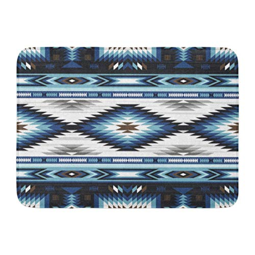 Koperororo Doormats Bath Rugs Outdoor/Indoor Door Mat Colorful Surf Blue Colors Tribal Navajo Pattern Aztec Abstract Geometric Ethnic Hipster American Bathroom Decor Rug 16