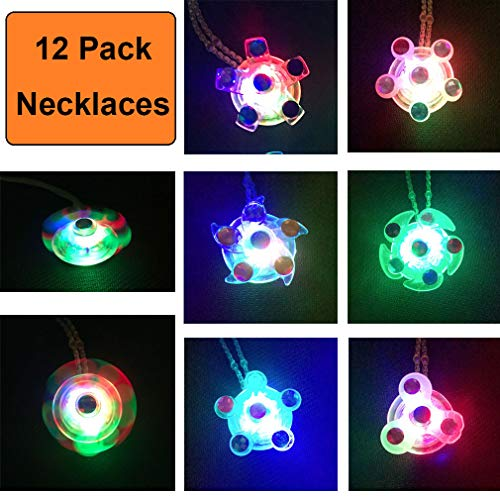 (Kocci 12 Pack Fidget Light Up Necklaces Toys Set LED Party Favors for Kids Prizes Glow in The Dark Party Supplies Hand Spinner Stress Relief Anxiety Toys for Classroom and)