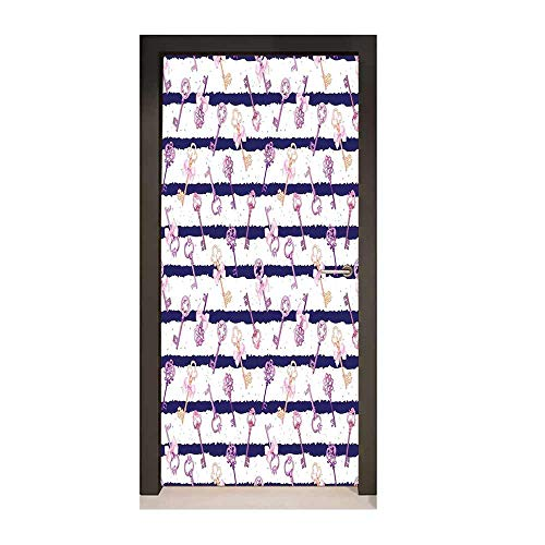 Girls Door Wallpaper Old Medieval Vintage Keys with Ribbons and Diamonds Striped Pattern in French Style for Home Room Decoration Purple Blue,W17.1xH78.7