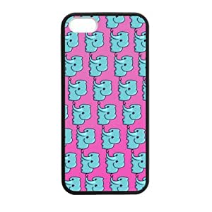 SUUER Blue Elephant Pattern Designer Personalized Custom Plastic Hard CASE for iPhone 5 5s Durable Case Cover